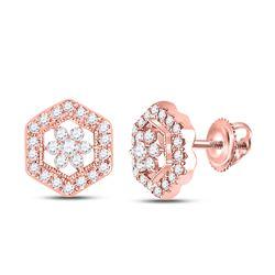 14kt Rose Gold Womens Round Diamond Geometric Cluster Earrings 3/8 Cttw