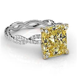Natural 3.02 CTW Canary Yellow Cushion Cut Diamond Twist Shank Ring 18KT Two-tone