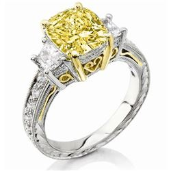 Natural 4.12 CTW Canary Yellow Cushion Cut Diamond Ring 18KT Two-tone