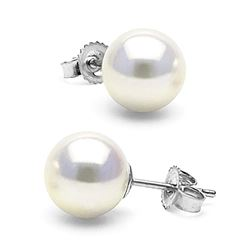 White Akoya Pearl Stud Earrings, 8.5-9.0mm
