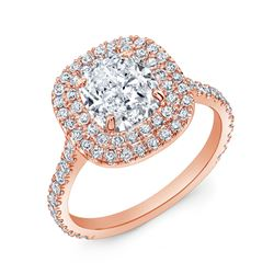 Natural 3.17 CTW Cushion Cut Double Halo Diamond Engagement Ring 18KT Rose Gold
