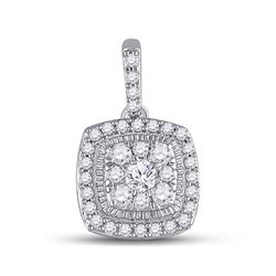 14kt White Gold Womens Round Diamond Square Pendant 1/4 Cttw