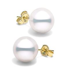 White South Sea Pearl Stud Earrings, 11.0-12.0mm