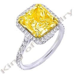 Natural 6.04 CTW Canary Yellow Radiant Cut Diamond Ring 18KT Two-tone