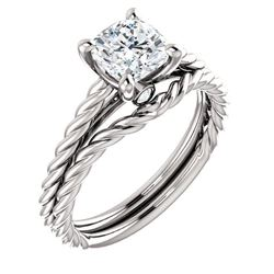 Natural 1.32 CTW Cushion Cut Infinity Rope Diamond Engagement Set 18KT White Gold