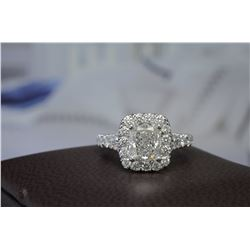 Natural 2.72 CTW Halo Cushion Cut Diamond Split Shank Engagement Ring 14KT White Gold
