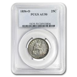 1856-O Liberty Seated Quarter AU-50 PCGS
