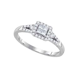14kt White Gold Princess Diamond Square Frame Cluster Ring 1/3 Cttw