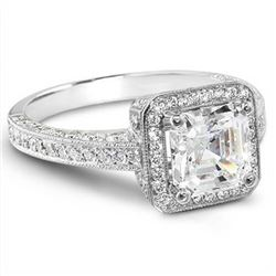 Natural 3.12 CTW Asscher Cut Diamond Engagement Ring 18KT White Gold