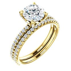Natural 3.12 CTW Round Cut Hidden Halo Diamond Engagement Ring 18KT Yellow Gold