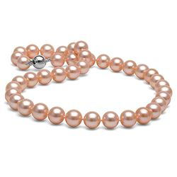 Pink Freshwater Pearl Necklace, 9.5-10.5mm