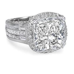 Natural 5.22 CTW Exquisite Halo Cushion Cut Diamond Ring 14KT White Gold