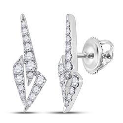 14kt White Gold Womens Round Diamond Fashion Earrings 1/2 Cttw
