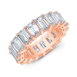 Natural 10.52 CTW Emerald Cut Diamond Eternity Ring 18KT Rose Gold