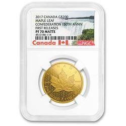 2017 Canada $200 1 oz Gold Maple Leaf PF-70 Matte NGC (FR)