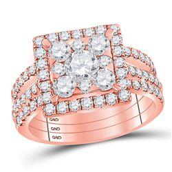 14kt Rose Gold Round Diamond Square Bridal Wedding Ring Band Set 2 Cttw