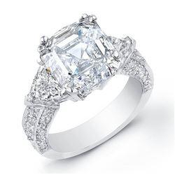 Natural 3.27 CTW Asscher Cut Diamond Engagement Ring 14KT White Gold