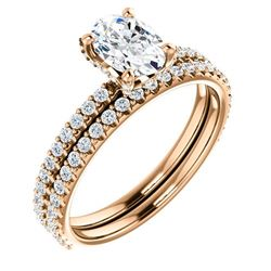 Natural 1.92 CTW Oval Cut Hidden Halo Diamond Ring 18KT Rose Gold