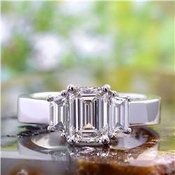 Natural 2.62 CTW Emerald Cut & Trapezoids 3-Stone Diamond Ring 18KT White Gold