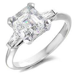 Natural 2.37 CTW Asscher Cut & Baguettes 3-Stone Diamond Ring 18KT White Gold