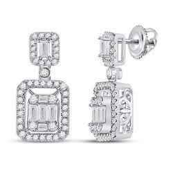 14kt White Gold Womens Baguette Diamond Rectangle Dangle Earrings 1 Cttw