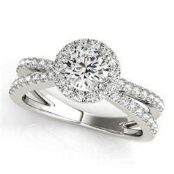 Natural 1.55 ctw Diamond Halo Ring 14k White Gold