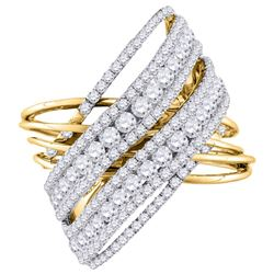 14kt Yellow Gold Womens Round Diamond Crossover Cocktail Ring 2-1/2 Cttw
