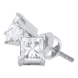 14kt White Gold Womens Princess Diamond Solitaire Earrings 1-3/8 Cttw
