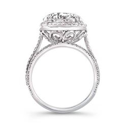 Natural 4.62 CTW Riviera Diamond Engagement Ring 14KT White Gold