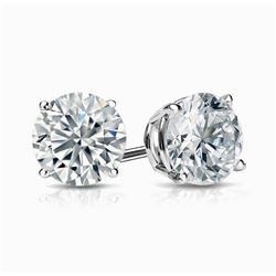 Natural 4.02 CTW Round Cut Diamond Stud Earrings  18KT White Gold