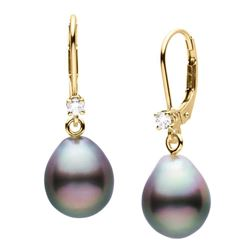 Black Tahitian Drop-Shaped Pearl and Diamond Leverback Dangle Earrings