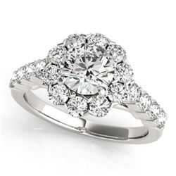 Natural 2.35 ctw Diamond Halo Ring 14k White Gold