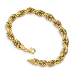 14k Yellow Gold Fancy 7 mm Rope Bracelet - 7.5 in.