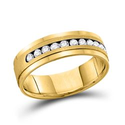 14kt Yellow Gold Mens Round Channel-set Diamond Single Row Wedding Band Ring 1/2 Cttw