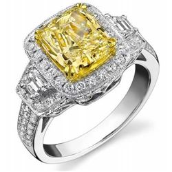 Natural 4.37 CTW Yellow Halo Canary Cushion Cut Diamond Ring 14KT Two-tone