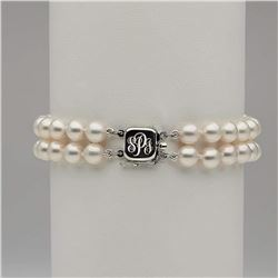 Double Strand White Akoya Pearl Bracelet with Custom Monogrammed Clasp