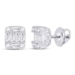 14kt White Gold Womens Round Diamond Fashion Cluster Earrings 5/8 Cttw