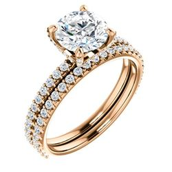 Natural 3.12 CTW Round Cut Hidden Halo Diamond Engagement Ring 18KT Rose Gold