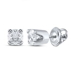 14kt White Gold Infant Girls Round Diamond Solitaire Earrings 1/20 Cttw