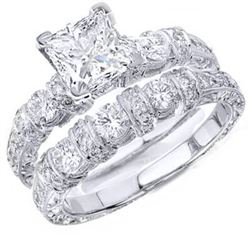 Natural 3.37 CTW Art-Deco Princess Cut Diamond Ring 18KT White Gold