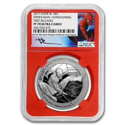 "2017 1 oz Silver $5 Mercanti-Designed SPIDERMAN""¢ PF-70 NGC (FR)"