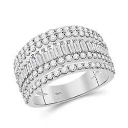 14kt White Gold Womens Baguette Diamond Modern Cocktail Band Ring 1 Cttw