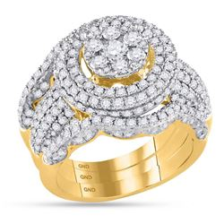 14kt Yellow Gold Round Diamond Cluster Bridal Wedding Ring Band Set 2-1/2 Cttw
