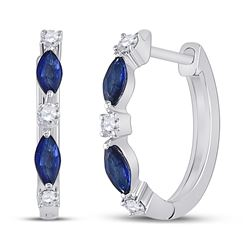 14kt White Gold Womens Marquise Blue Sapphire Diamond Hoop Earrings 3/8 Cttw