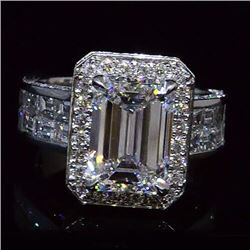 Natural 6.82 CTW Stunning Halo Emerald Cut Diamond Ring 18KT Two-tone
