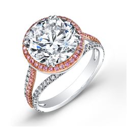 Natural 3.42 CTW Halo Round Brilliant Cut Pave Diamond Engagement Ring 18KT Two- tone