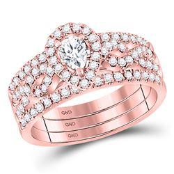 14kt Rose Gold Pear Diamond 3-Piece Bridal Wedding Ring Band Set 7/8 Cttw