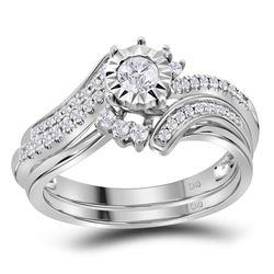 14kt White Gold Round Diamond Bridal Wedding Ring Band Set 3/8 Cttw