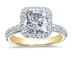 Natural 3.47 CTW Princess Cut Halo Pave Diamond Engagement Ring 14KT Yellow Gold