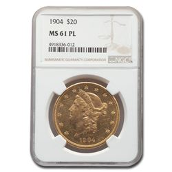 1904 $20 Liberty Gold Double Eagle MS-61 NGC (PL)